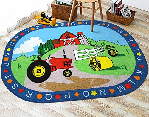 buy kids rug abc shapes with farm tractor for playroom u0026 nursery learning carpets play carpet country farm life mat area rug non s from