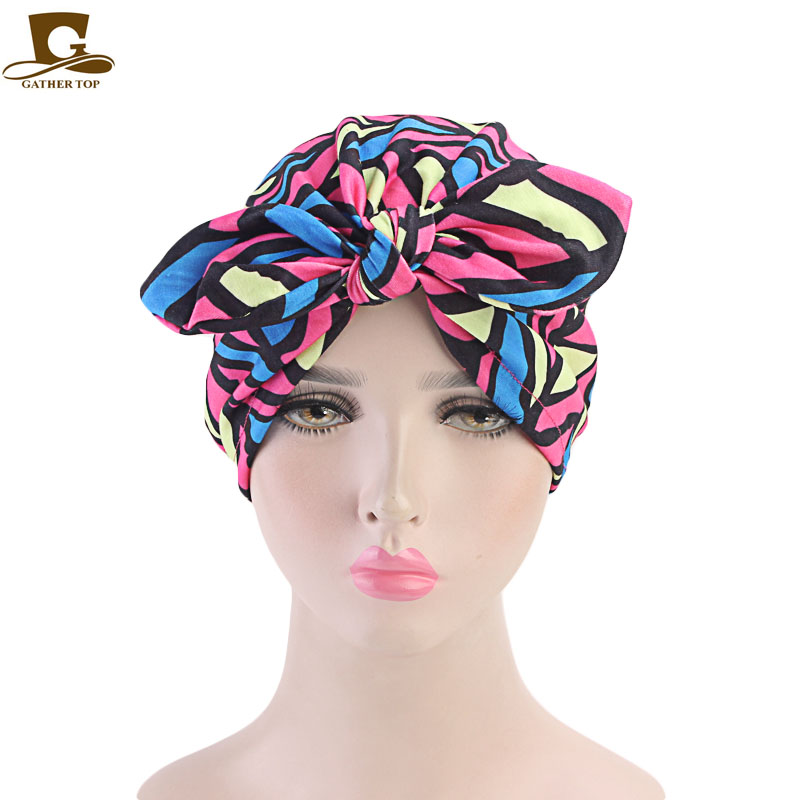 527c24227ce New rabbit ear beanie headband women vintage Bow Stretchy Turban Hat Chemo Hat  soft knotted turban Beanie Cap Turbante -in Hair Accessories from Women s  ...