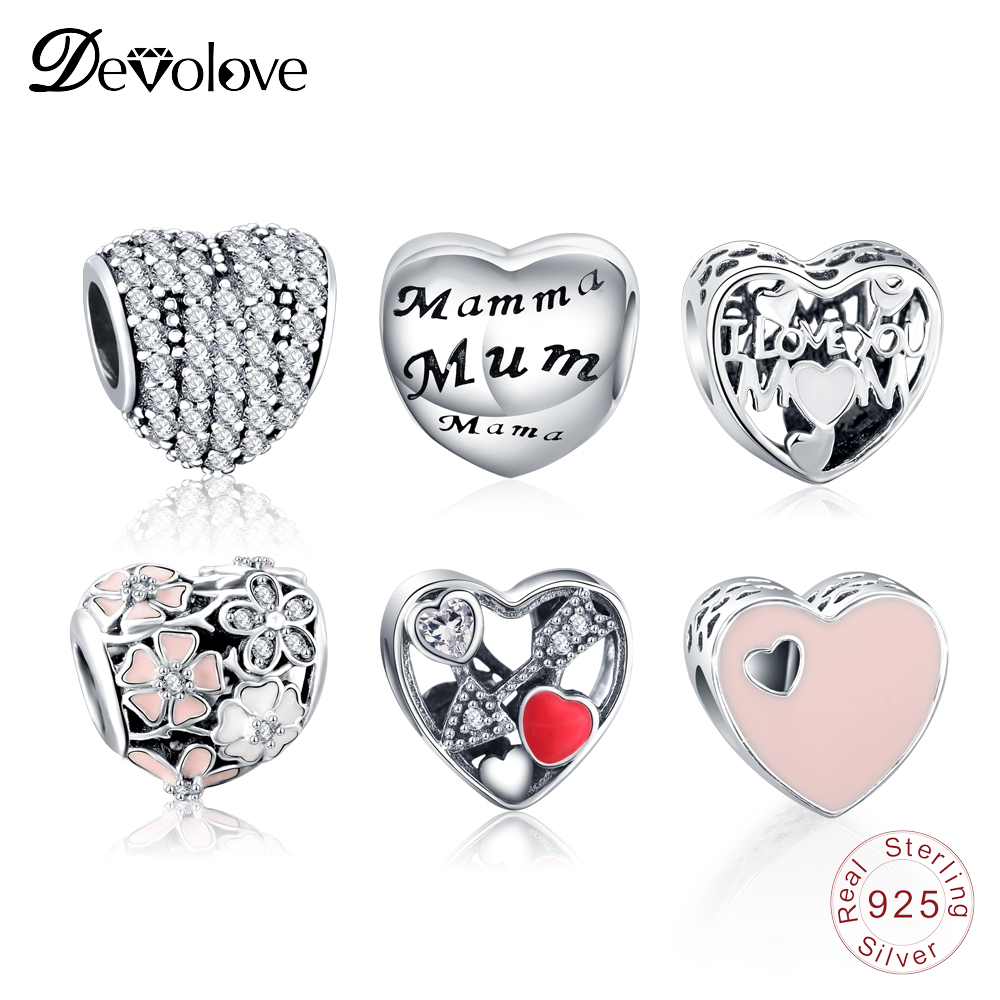 Devolove 925 Sterling Heart Shape Charms Beads Fit Silver