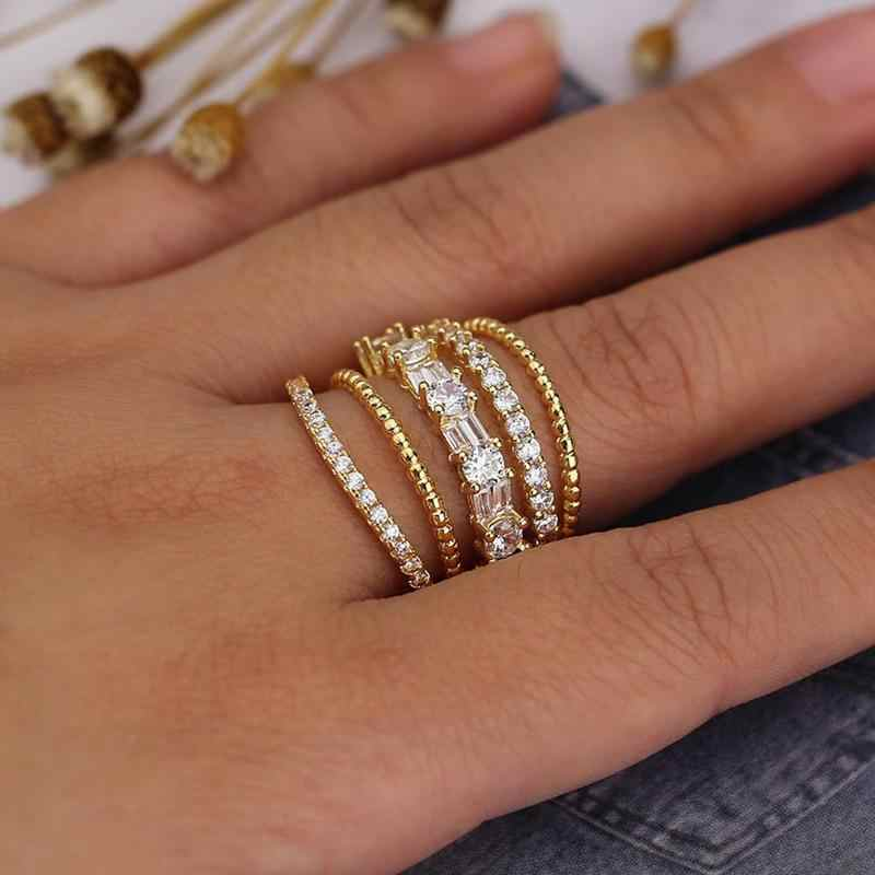 New Luxury 5 Layer Full Stone Zircon Rings for Women Geometry Exaggerated Nightclub Party Ring Gifts Jewelry Drop Shipping