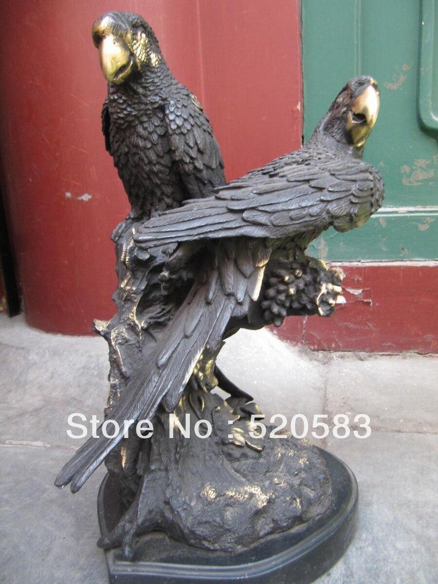 14'' West Art bronze copper sculpture two hawk parrot Art Deco figurine statue statues figurines statue decostatue art - title=