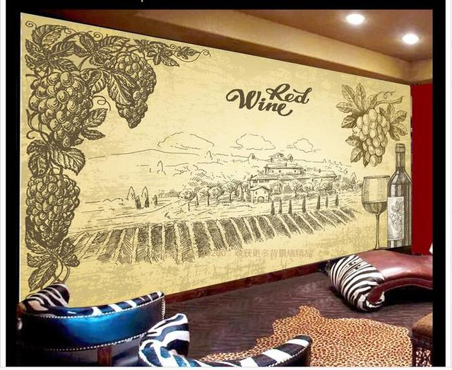 Customized 3d photo wallpaper for walls 3 d Hand painted vineyard