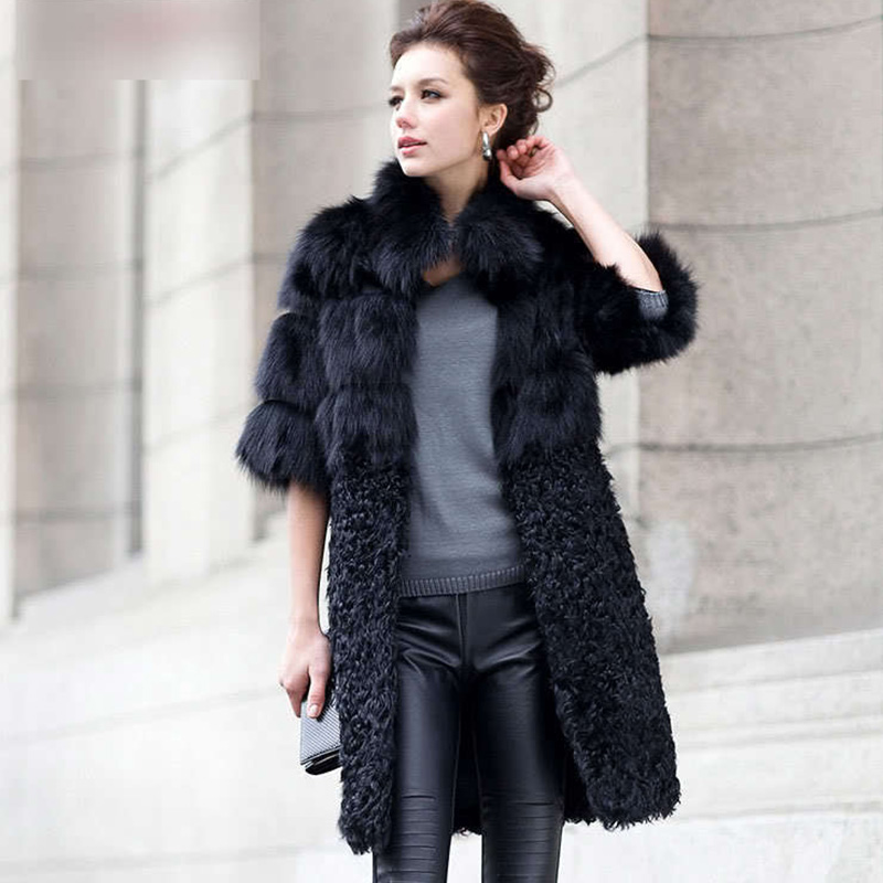 New Natural Fox Fur Coat Women's Lady Winter Long Real Lamb Fur Jackets Genuine Furs Outerwear Fur Customize Plus Size 4XL