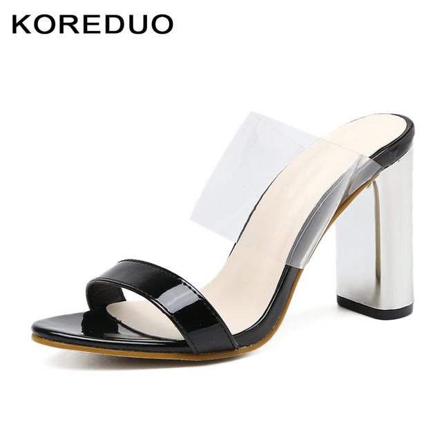 91c462e1bb1 KOREDUO New Rome Summer Shoes Square Heels Mules Slippers with Design  Backless Women Slip Shoes in Nude Black Slip-On Sandals mw