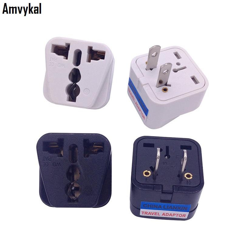 Amvykal Top Quality CE Universal USA AC Power Electrical Plug Socket UK AU EU To US Plug Travel Adapter Converter 500 pcs/lot
