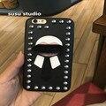 Nueva Marca de Moda de Lujo de Piel remache de Cuero Monsters Karlito Teléfono Celular casos para iphone 6 6 s plus 7 7 plus de 5.5 pulgadas cubierta de la caja