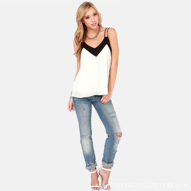 2015 Moda Blusas Sexy Com Decote Em V Preto E Branco da Cor do Contraste Halter Top Solto Duplo Arnês Sem Encosto Chiffon Camisole BH582