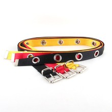 Women's Canvas Casual Ring Black Metal Belt