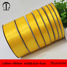 25yards/lot 0.6~5cm grosgrain Simple yellow ribbon satin sewing bias for handicrafts ribbons DIY gift box packaging decoration
