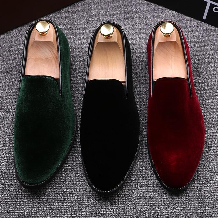 2016 г.; винтажная бархатная мужская повседневная обувь; летние зеленые лоферы; дышащие тапочки на плоской подошве; Мокасины с красной подошвой; Мужская обувь; Zapatos Hombr - 4
