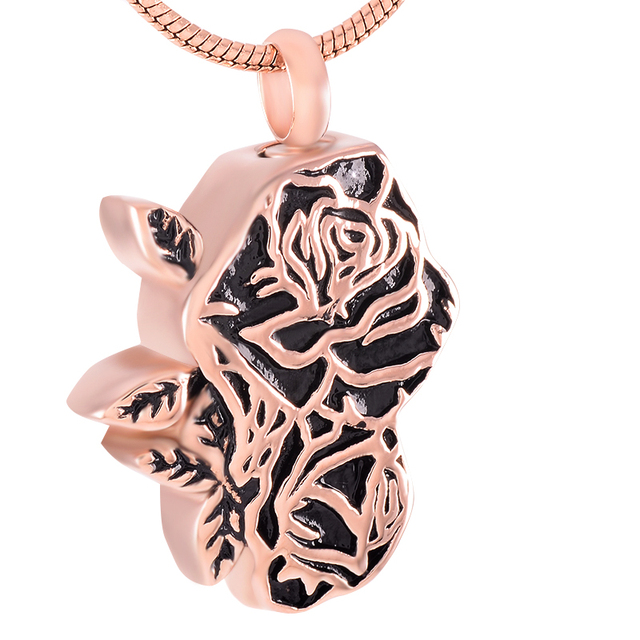 Stainless Steel Rose Memorial Necklace