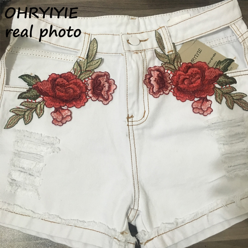 HTB1Mp62QVXXXXanXXXXq6xXFXXXN - Sexy Hole High Waist Denim Shorts Flowers Embroidered PTC 156