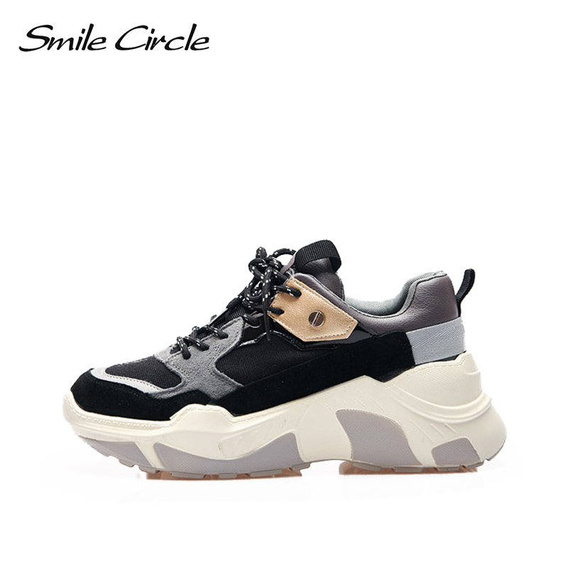 Smile Circle Women Chunky Sneaker Suede leather Lace-up Thick bottom Flat Platform Shoes For Women 2018 Autumn Wedges Sneaker smile circle spring autumn women shoes casual sneakers for women fashion lace up flat platform shoes thick bottom sneakers