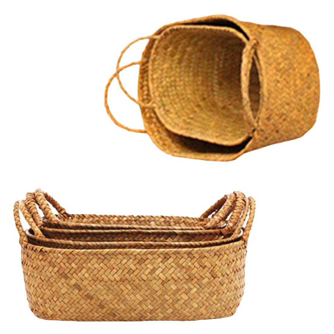 1pc Seagrass Wickerwork Basket Rattan Foldable Hanging Flower Pot Planter Woven Dirty Laundry Hamper Storage Basket Holder Case