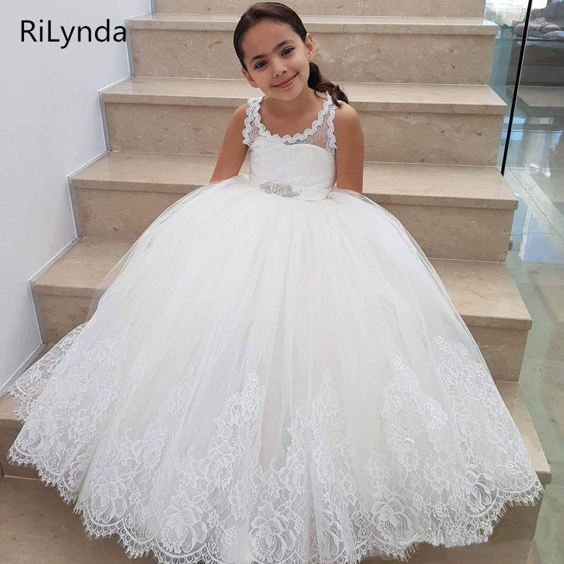 White   Flower     girl     dresses   Kids Pageant Birthday Formal Party Lace Long   Dress   Bowknot First Communion   Dress   Prom Gown 2-14Y