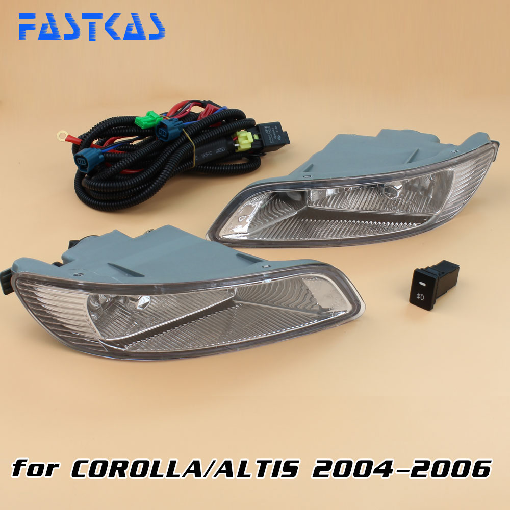 12v Car Fog Light Assembly for Toyota Corolla/Altis 2004 2005 2006 Front Left and Right set Fog Light Lamp kit Harness Relay 12v 55w car fog light assembly for ford focus hatchback 2009 2010 2011 front fog light lamp with harness relay fog light