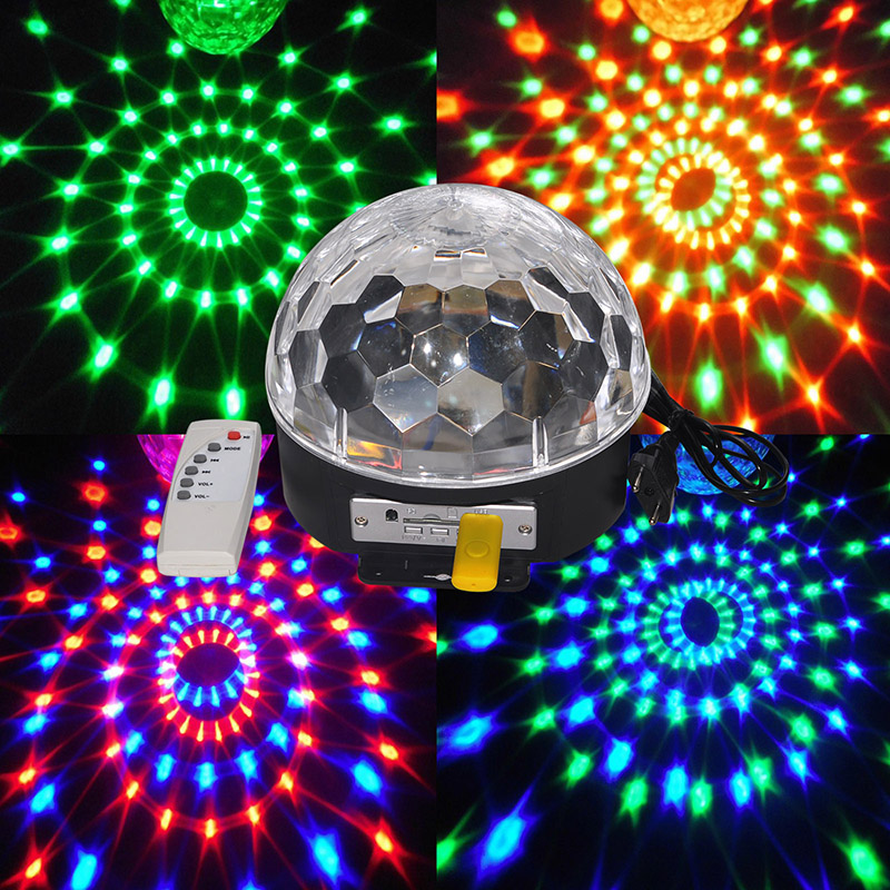 ФОТО Disco DJ Stage Lighting Digital LED RGB Crystal Magic Ball Effect Light for Xmas Party and New year Party