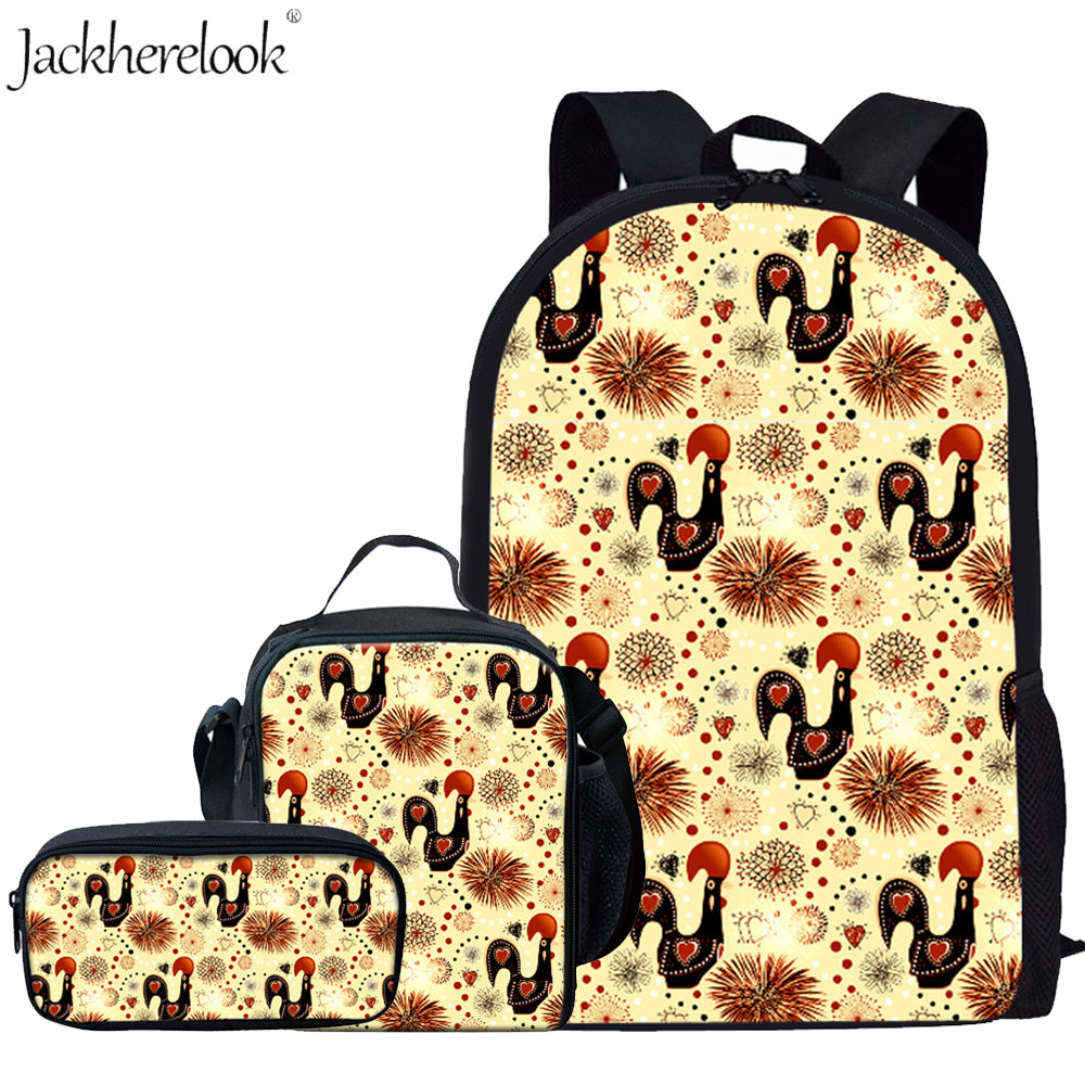 Jackherelook Funny Chicken Printed School Bags Set For Girls Boys Animal Backpacks Primary Children Book Bag Kids Schoolbag 3Pcs