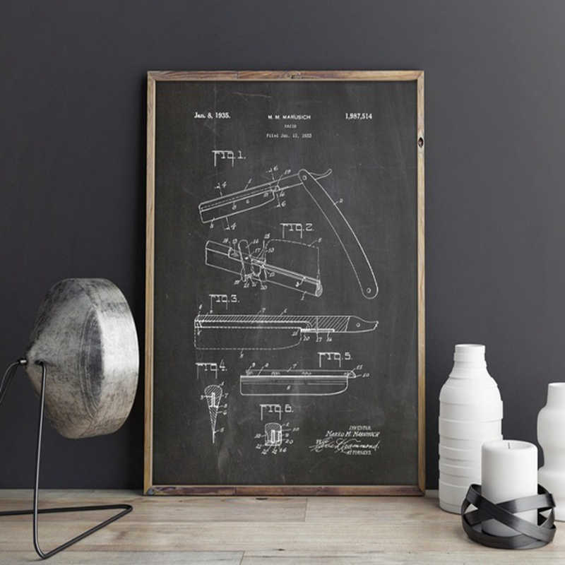 Barber Razor Patent Canvas Prints Barber Shop Art Poster Wall Decor Vintage Blueprint Painting Gift idea Picture Wall Decoration