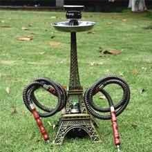 Paris Tower Metal Shisha Hookah Double Hose with Ceramics Bo