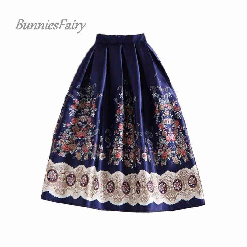 Bunniesfairy 50s Винтаж Хепберн элегантные Для женщин в этническом стиле бохо платье в стиле ретро с цветочным узором Цветочный принт миди-юбка с высокой талией Темно-синие размера плюс