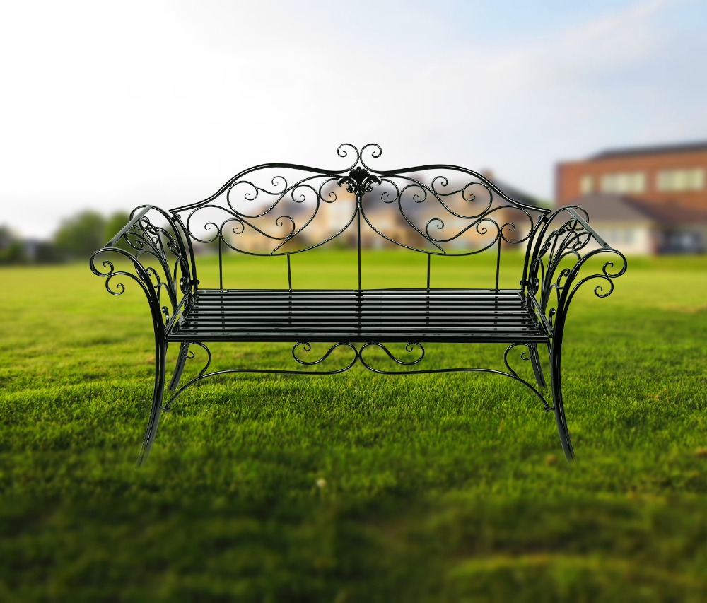 Two Seat Lawn Chairs Fold Up Wheelchair Hlc Black Outdoor Romance Bench For Garden Park Path Chair Christmas Gift In From Furniture On Aliexpress Com Alibaba