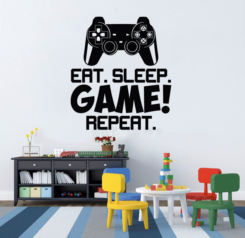Vinyl Art Removable Poster Mural Video Game Controller Wall Sticker Boys Room Decor Gamer Decals Eat Sleep Game Repeat W113 in Wall Stickers from Home Garden