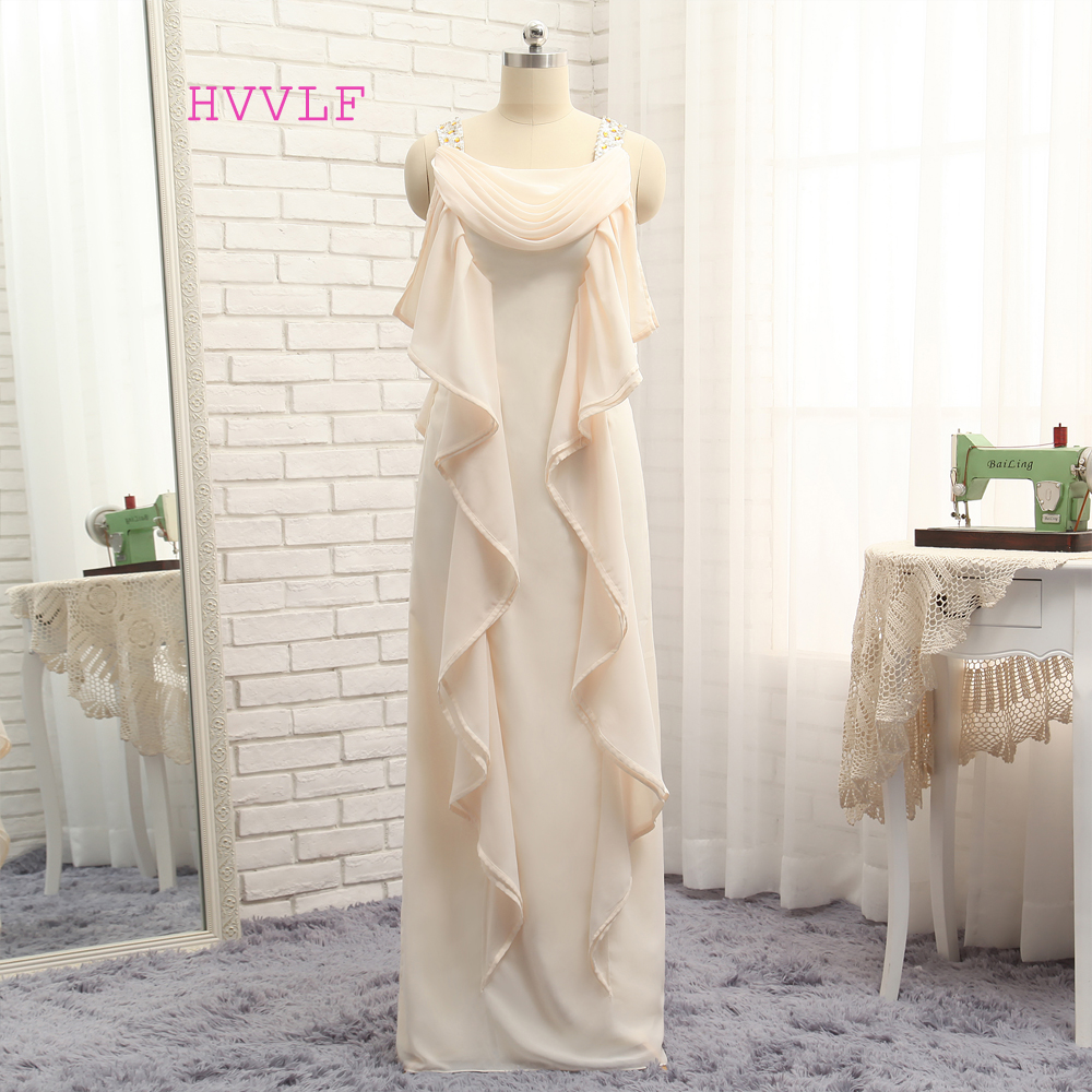 2017 Mother Of The Bride Dresses A-line Scoop Floor Length Chiffon Champagne Long Mother Dresses Evening Dresses For Weddings