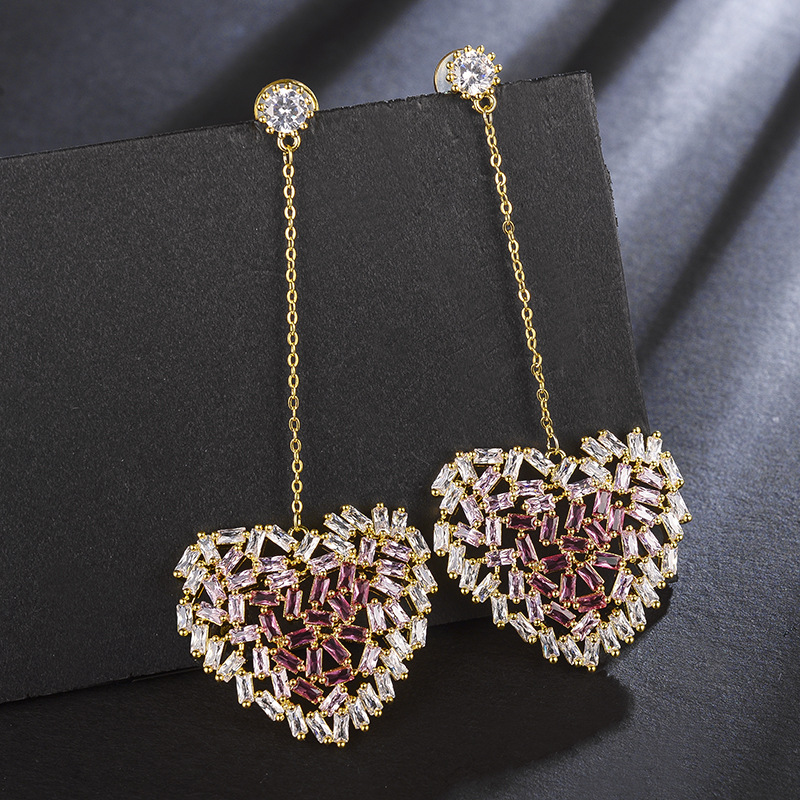 Japan and South Korea pink gradient long hollow love women earrings fashion temperament inlaid zircon earrings
