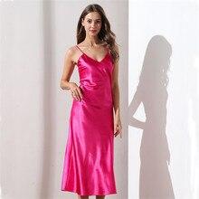 Spitze Nachthemden V ausschnitt Sleepdress Weiß Lange Nachtwäsche Frauen Spaghetti Strap Nachthemd Schlafanzug Für Weibliche Nacht Kleid