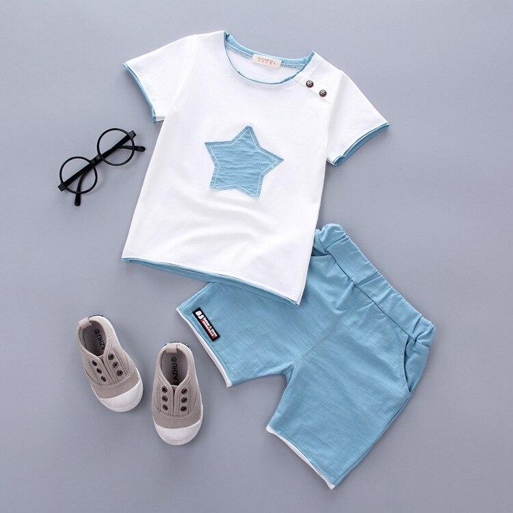Для маленьких мальчиков Одежда Костюм летний Комплект одежды для маленьких мальчиков дети хлопок с принтом со звездой Наборы для ухода за кожей Рубашки для мальчиков Шорты Брюки для девочек Детские костюмы