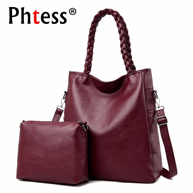 2 Pc/sets Women Leather Handbags High Quality Sac A Main Female Leather Shoulder Bag Large Capacity Tote Bag Purses And Handbags