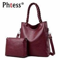 2 Pc/sets Women Leather Handbags High Quality Sac A Main Female Leather Shoulder Bag Large Capacity Tote Bag Purses And Handbags