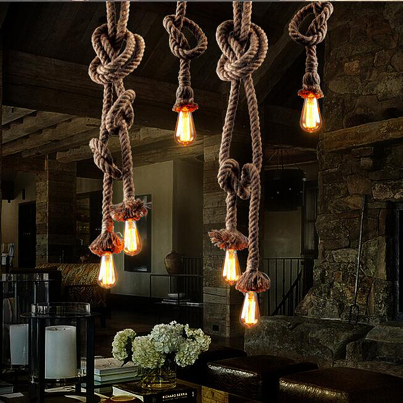 mordern rope retro pendant lights american style edison lights lustre industrial iron loft diy. Black Bedroom Furniture Sets. Home Design Ideas