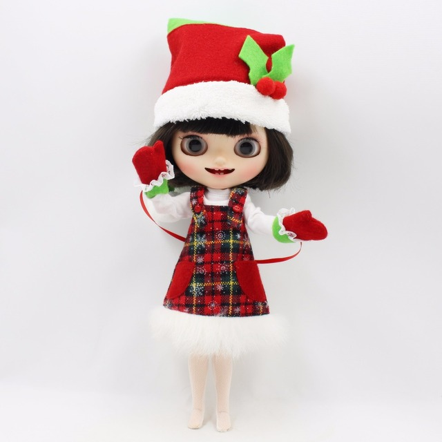 Neo Blythe Doll Christmas Dress With Hat & White Shirt