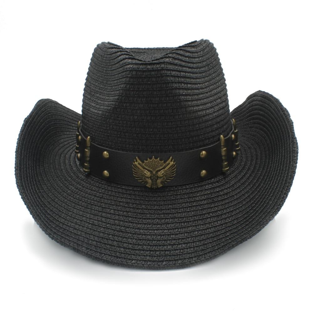 Wanita Pria Topi Jerami Western Cowboy Dengan Menggulung Penuh Lady ... 73f8d35a7b