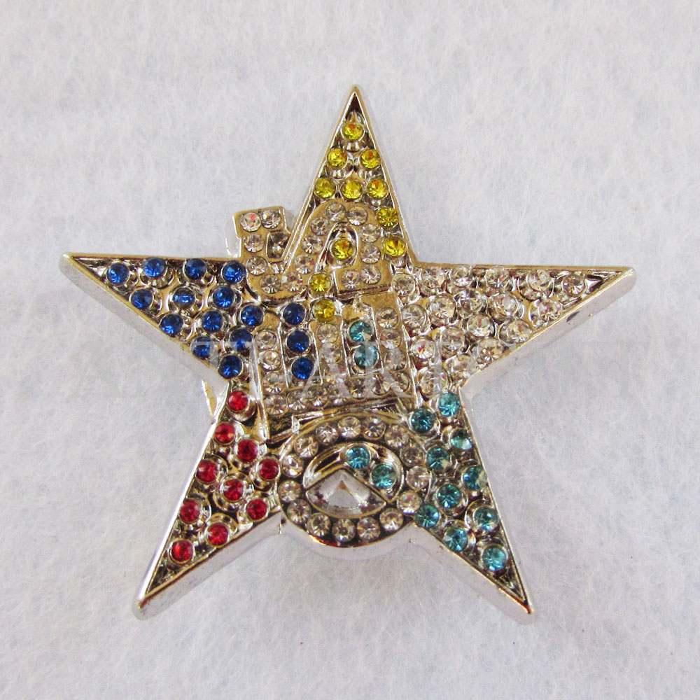 US $142.0 |Custom multiple design metal lapel pin cloth with glitter diamond five star hat badges decoration 31.8mm high quality in Badges from Home &