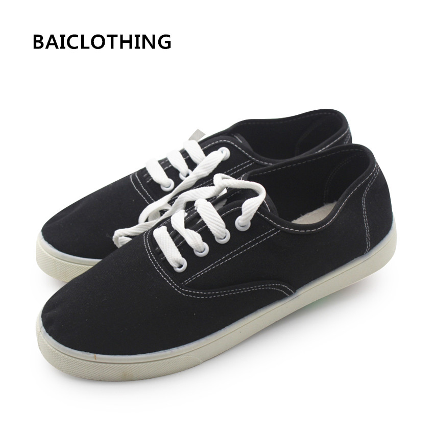 BAICLOTHING women spring summer lace up shoes lady cute comfortable vulcanize shoes student school white and