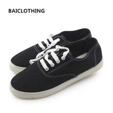 BAICLOTHING femmes printemps été dentelle up chaussures dame mignon confortable vulcaniser chaussures d'école des élèves blanc et noir chaussures zapatos