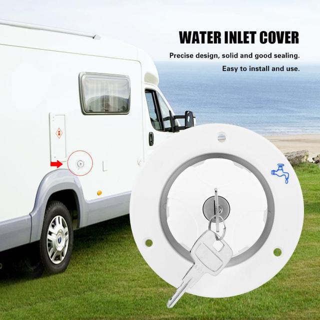 Tapa de bloqueo de entrada de llenado de agua de remolque RV para vehículo recreativo con llaves blancas