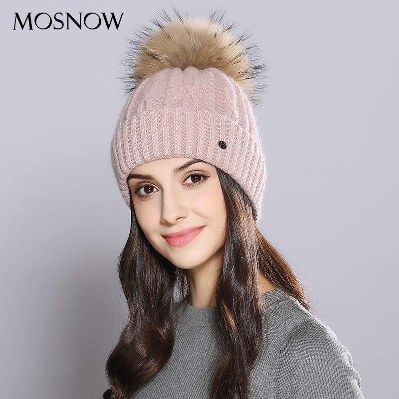 MOSNOW Woman Winter Hats Wool Raccoon Fur Pom Pom Stripe 2017 Autumn Winter Women'S Knitted Hat Female   Skullies     Beanies   #MZ726B