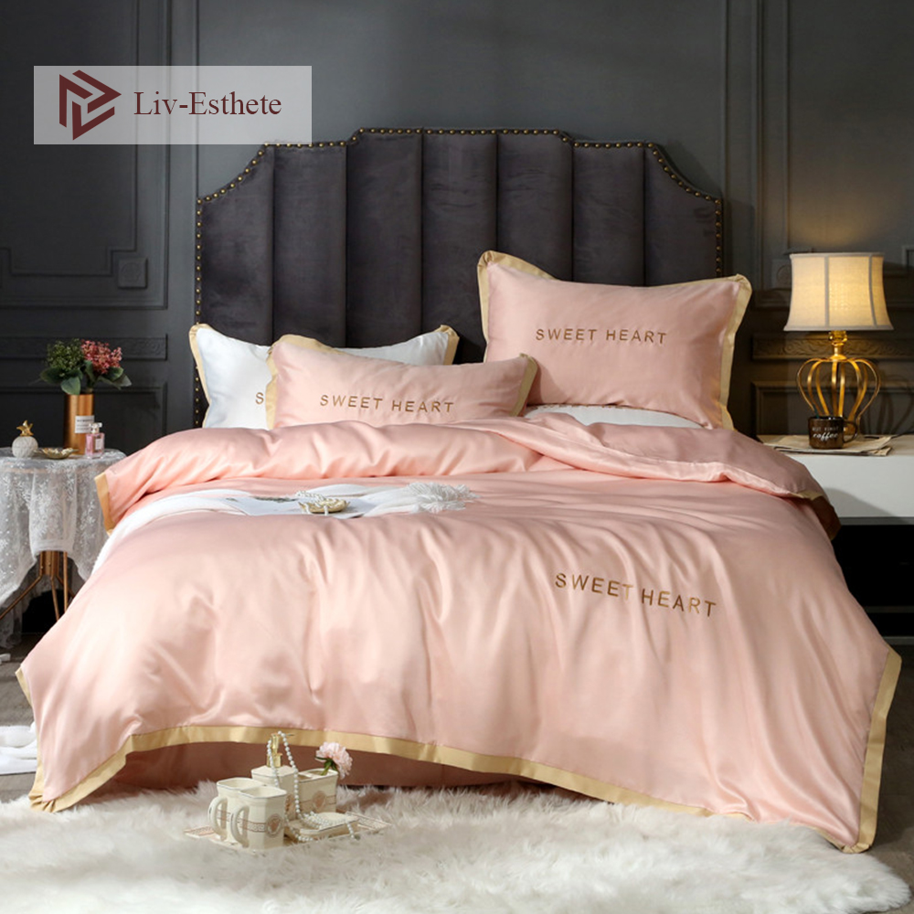Liv-Esthete 100% Silk Pink Luxury Bedding Set Embroidery Duvet Cover Flat Sheet Pillowcase Bed Linen Double Queen King For AdultLiv-Esthete 100% Silk Pink Luxury Bedding Set Embroidery Duvet Cover Flat Sheet Pillowcase Bed Linen Double Queen King For Adult