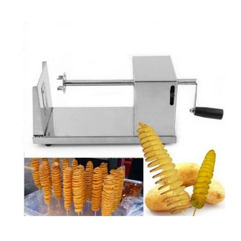Portable Manual Stainless Steel Potato Slicing Machine Commercial Tornado Spiral Household Potato Chips Cutter цена