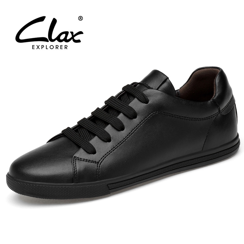 CLAX Men Casual Shoes Black White Fashion Flats Leather Shoe Male Spring Autumn walking Footwear Soft