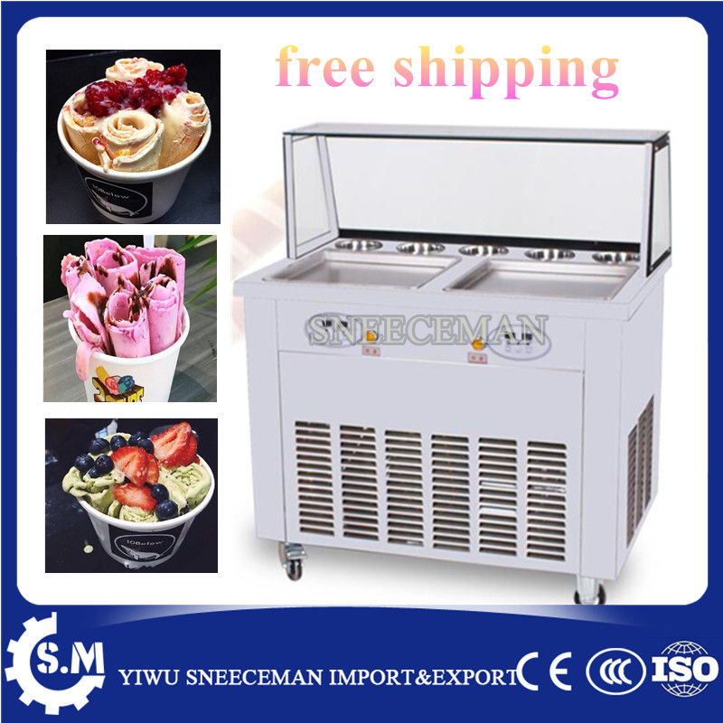 free shipping 35cm automatic DOUBLE pan ice cream rolling roll machine stainless steel fried ice cream machine with defrost plat free shipping big pan 50cm round pan roll machine automatic fried ice cream rolling rolled machine frying soft ice cream make