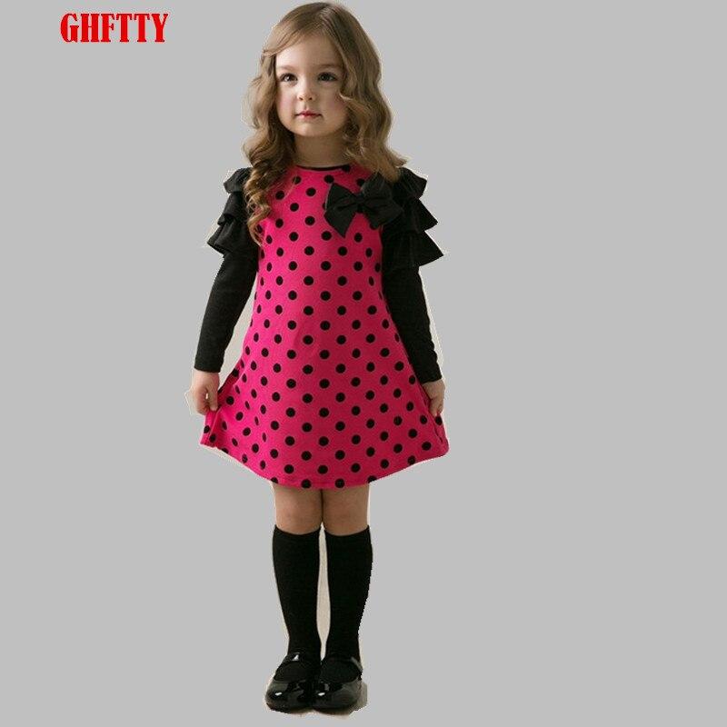 6de5cf5871 Dziewczyny Ubierają Wiosna Nowa Bawełniana Dzieci Sukienki dla Dziewczynek Z  Długim Rękawem Łuk Dzieci Odzież Dla Niemowląt Maluch Ubrania