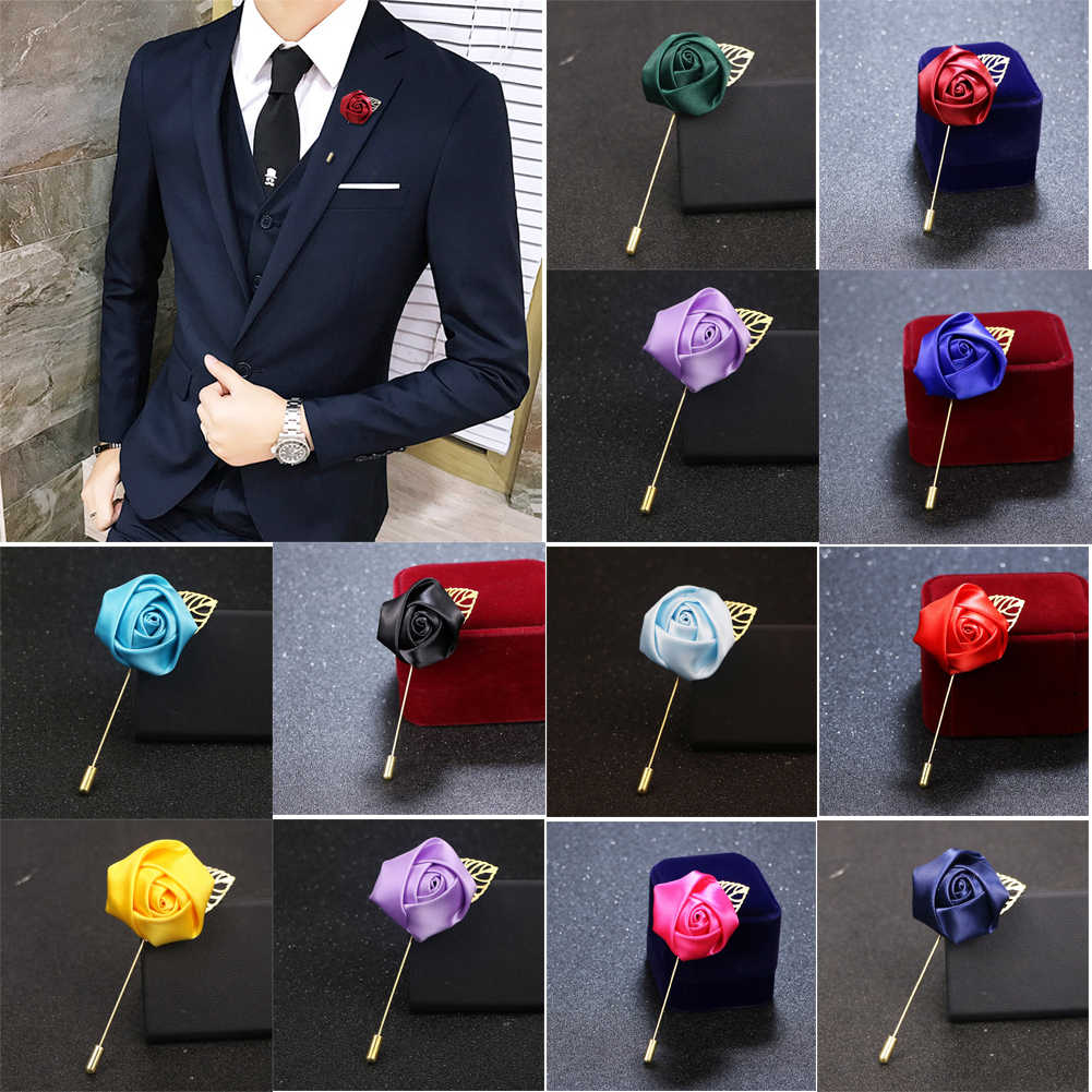 Men 's suit Flower Brooch Pins Fabric Ribbon Tie Pin 19Colors Solid Flower Brooches for Women Lapel Pin Men Suit Accessories