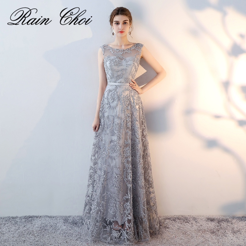 Silver Long Prom Dresses 2018 New Arrival O Neck Sheer Back Embroidery A Line Party Evening Gowns Real Photo
