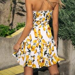 Street Style Sexy Strapless dress women Boho backless beach summer dresses yellow Floral print Ruffles short dress vestidos 4