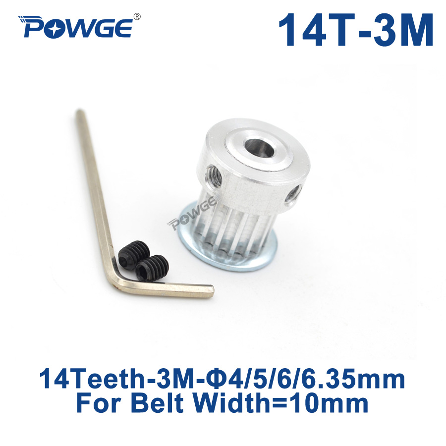 POWGE 14 Teeth HTD 3M Synchronous Pulley Bore 4/5/6/6.35mm for Width 10mm 3M timing belt HTD3M Pulley gear wheel 14T 14TeethPOWGE 14 Teeth HTD 3M Synchronous Pulley Bore 4/5/6/6.35mm for Width 10mm 3M timing belt HTD3M Pulley gear wheel 14T 14Teeth
